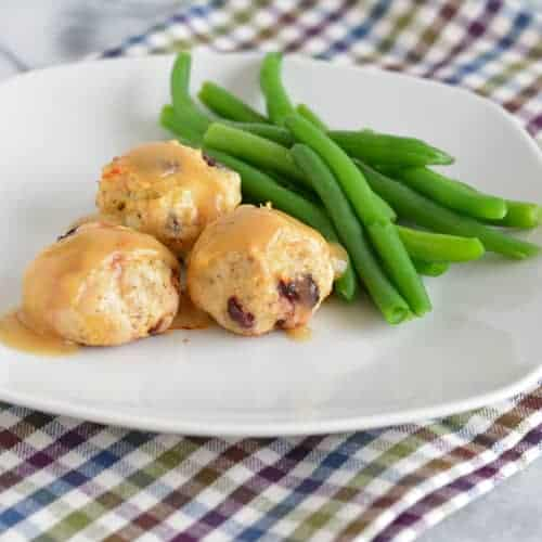 Cranberry, Sage, & Gruyere Turkey Meatballs