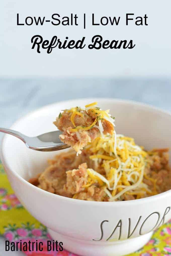 Low-fat, low-salt refried beans topped with cheese.