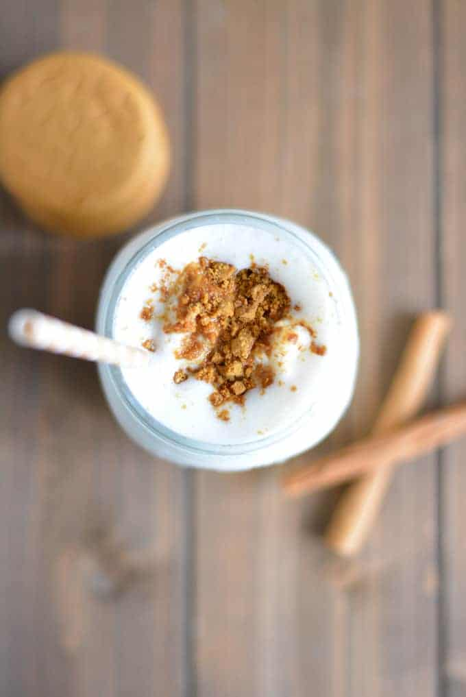 Gingerbread flavored protein shake with cookie crumbs.